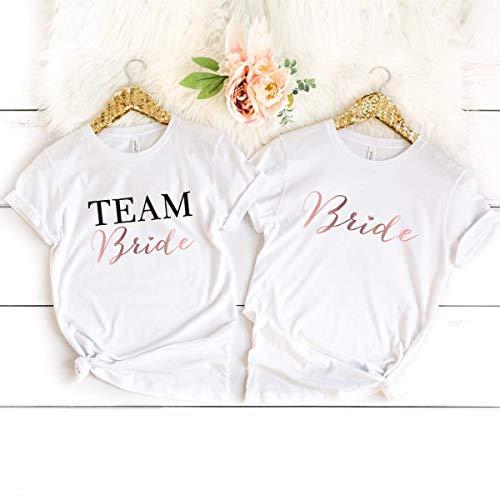 """JGA T-Shirt """"Bride"""" weiß aus 100% Baumwolle"""