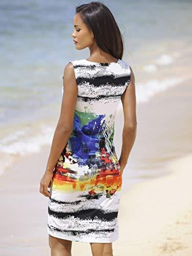 Alba Moda Damen Figurbetontes Knielang Kleid in weiß/bunt aus Baumwolle
