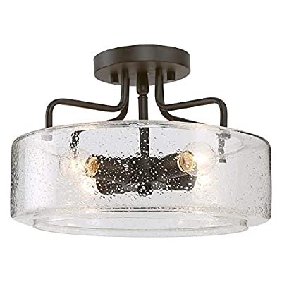 LOG BARN Semi Flush Mount Ceiling Light with Seeded Glass Shade for Living Room Bedroom, Kitchen, Hallway, W12 x H8, Black