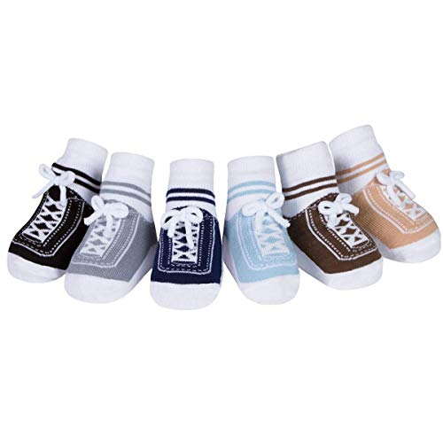 Baby Emporio 6 pares de calcetines para bebé niño - con diseño de zapatos-suelas antideslizantes - algodón- regalo recién nacido