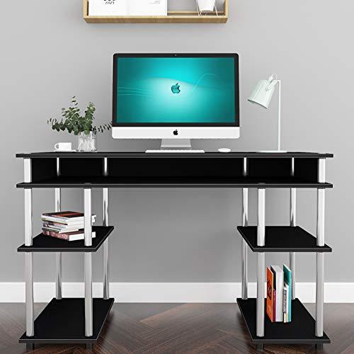 sogesfurniture, scrivania per Computer, Tavolo da Studio, postazione di Lavoro con Telaio in Acciaio e 2 Ripiani per Ampia archiviazione, 120 x 60 cm, Nero BHEU-JSLP-MLS12060-B