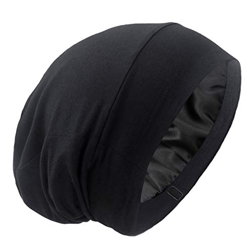 Satin Lined Hair Cover Sleep Cap - Adjustable Stay on No Fading Slouchy Skull Night Sleeping Beanie for Frizzy Natural Curly Hair Protection - Solid Black