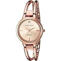 Anne Klein AK/2626RGRG Diamond-Accented Dial Rose Gold-Tone Open Bangle Women's Watch