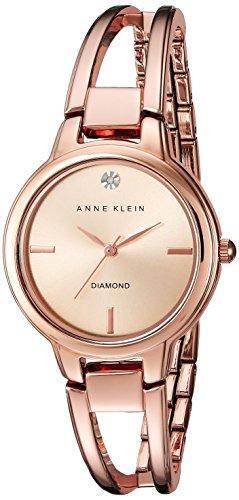 Anne Klein Women's AK/2626RGRG Diamond-Accented Dial Rose Gold-Tone Open Bangle Watch