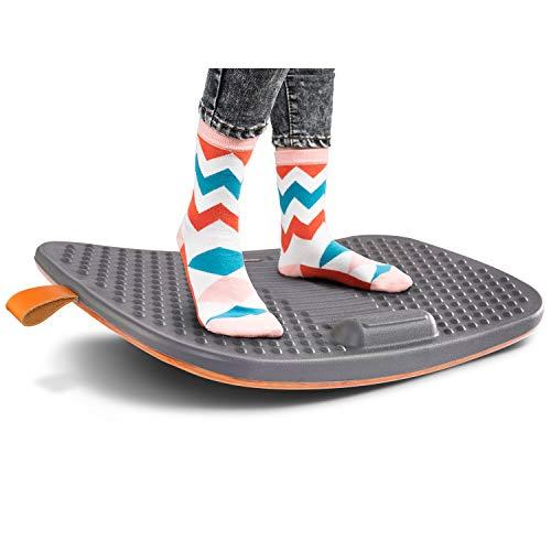 FEZIBO - Alfombrilla de pie con barra antifatiga, tabla de equilibrio de madera con diseño ergonómico y cómodo (grande, color gris Altostrato)