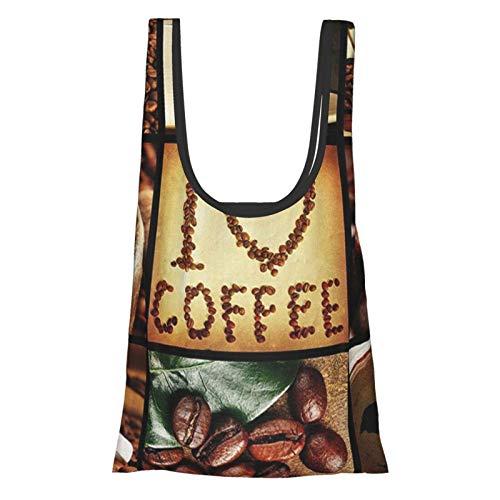 """Hdaw Braune """"I Love Coffee""""-Thema, Collage, geröstete Bohnen, Braumaschinen und Tassen, aromatisches Getränk, braun, weiß, wiederverwendbar, faltbar, umweltfreundlich, Einkaufstaschen"""