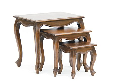 NES Furniture Fine Handcrafted Solid Mahogany Wood Queen Anne Nesting Tables - 24 inches
