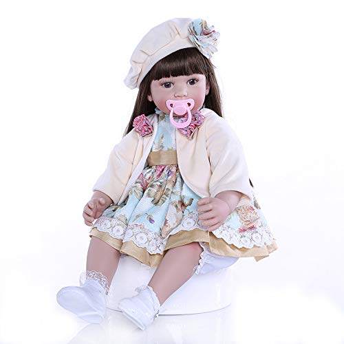 Zero Pam Reborn Toddler Dolls 24 inch Realistic Soft Silicone Vinyl Weighted Body Reborn Baby Dolls Real Looking Lifelike Dolls for Toddler Girls (Floral Dress Girl Doll)