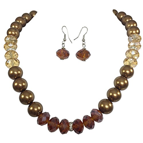 Gypsy Jewels Brown Tones Imitation Pearl Glass Bead Necklace Earrings Set