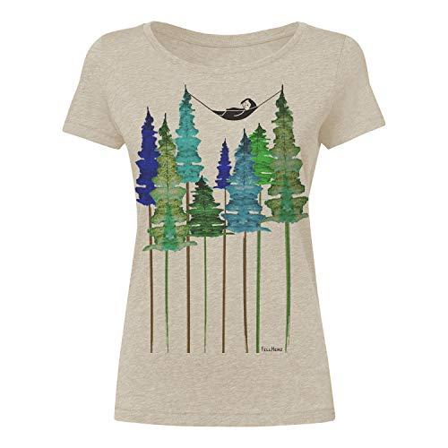 FellHerz Wood beige meliert - M - süßes Damen T-Shirt aus 100% Bio-Baumwolle Organic Cotton fair nachhaltig öko alternativ Mädchen Fee Hängematte Wald