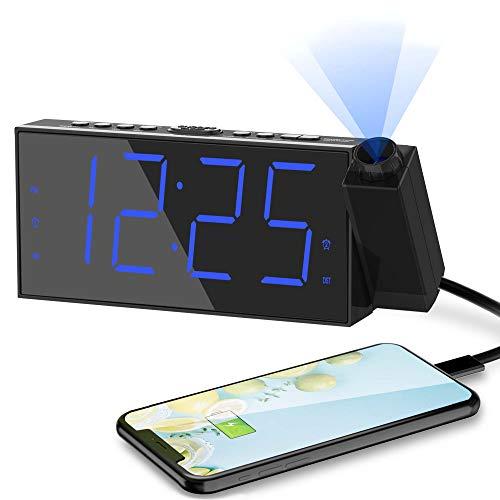 """ROCAM Projektionswecker Wecker Digital mit USB-Anschluss, Große 7"""" LED Bildschirm,4 einstellbare Helligkeiten,Wechselstrom,Batterieunterstützung für Schlafzimmer, Küche, Kinder (Blaue Projektionsuhr)"""