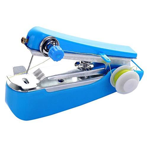 Luccase Máquina de coser inalámbrica, 1 unidad, para viaje, hogar, portátil, portátil, mini máquinas de coser para tejidos de costura, color azul