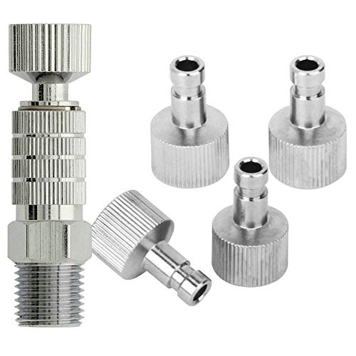 ABEST Airbrush quick disconnect coupler release fitting Adapter with 5 Male fitting, 1/8 M-F