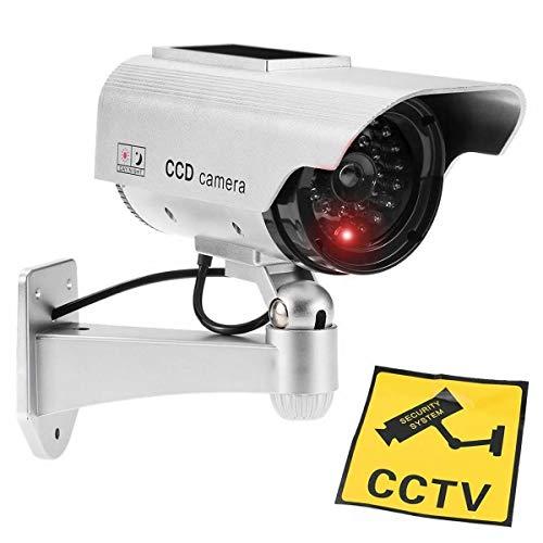 JUSTOP Cámara de CCTV ficticia para exteriores e interiores, resistente al agua, con luz LED de realidad solar, funciona con pilas, color plateado