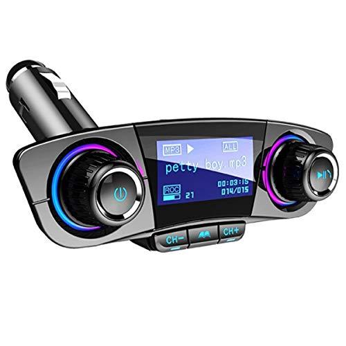 Greatangle-UK Reproductor de MP3 para Coche Transmisor FM Reproductor de MP3 Kits de Manos Libres para Coche Adaptador de Audio de Radio 12-24 V Encendedor de Cigarrillos para Coche