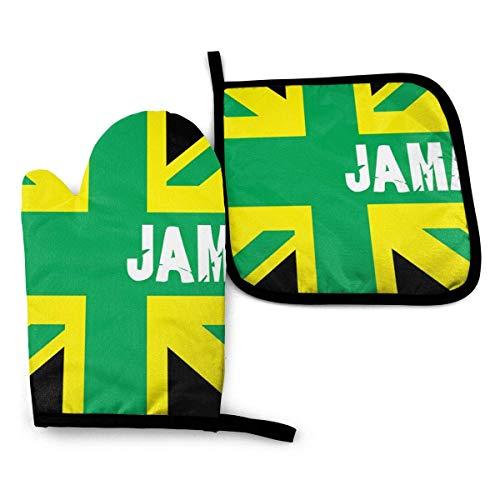 Jama Flag - Juego de guantes para horno resistentes al calor, resistentes al calor, guantes de cocina gruesos y duraderos, divertidos agarradores con forro de algodón para cocina, microondas, hornear,