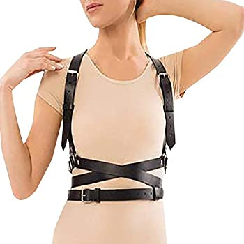 Pinwe Leather Body Chest Straps Punk Harness Caged Waist Belt Gothic Body Chain Strappy Adjustable for Women PW003