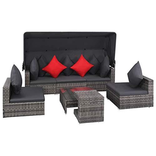 vidaXL Garten Sofa 7-TLG. Poly Rattan Gartenmöbel Lounge Möbel Sitzgruppe