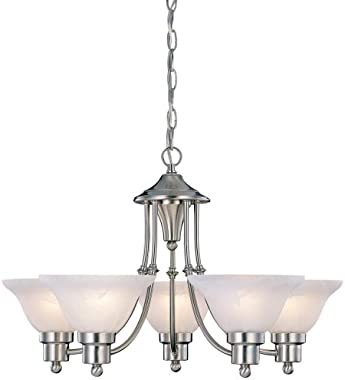 "Hardware House 544452 54-4452 Bristol 5 Light Chandelier, 24""x15"", Satin Nickel"