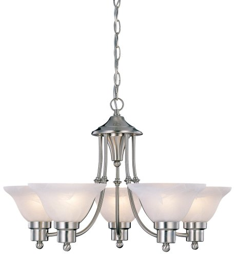 Hardware House 544452 54-4452 Bristol 5 Light Chandelier, 24'x15', Satin Nickel