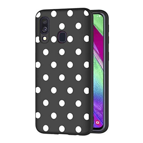 ZhuoFan Cover Samsung Galaxy A40, Custodia Cover Silicone Nero con Disegni Ultra Slim TPU Morbido Antiurto 3d Cartoon Bumper Case Protettiva per Samsung Galaxy A40 Smartphone (Pois bianco)