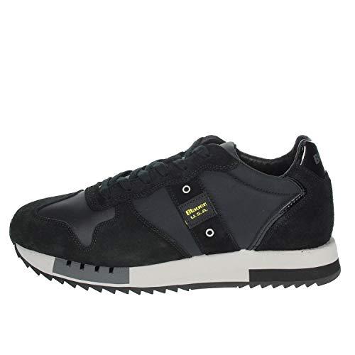 Blauer Scarpe Sneaker Running MOD. Queens in Suede/Tessuto Blu Nero U21BU03