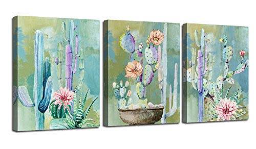 Ardemy Canvas Wall Art Cactus Flowers 12'x16' 3 Panels Watercolor Blue Painting, Modern Succulent Tropical Green Plants Pictures Framed Ready to Hang for Bathroom Kitchen Bedroom Living Room Spa Salon