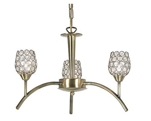 Oaks Illuminazione 3341/3 AB Koge plafone in ottone antico Termina Completa di cristallo in rilievo di Shades
