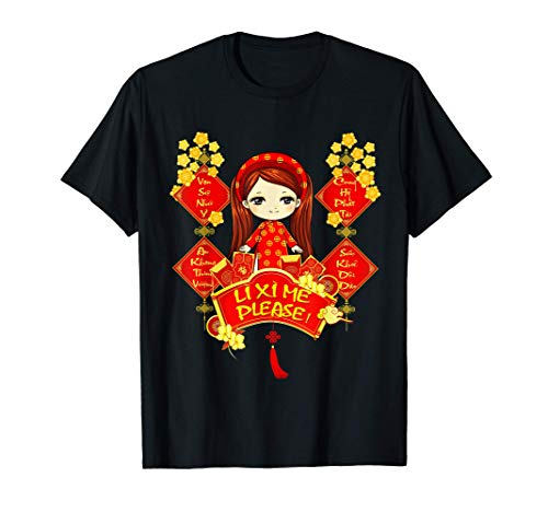 Li Xi Me Please Vietnamese Red Cute Ao Dai Girl Flowers T-Shirt