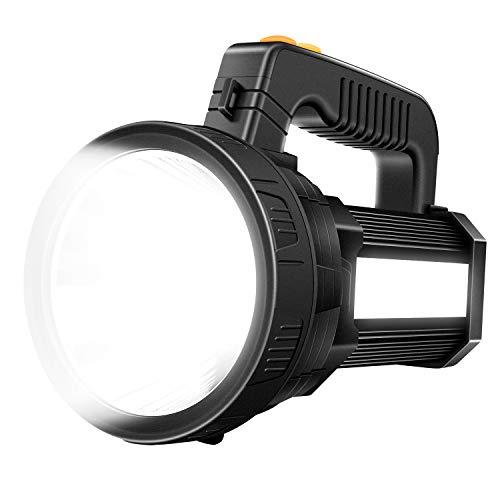 Spotlight Flashlight, Rechargeable Handheld LED Spotlight, Super Bright 6000 High Lumens 9600mAh Outdoor Searchlight IPX4 Waterproof Brightest Flashlight with USB Output Function (Black)