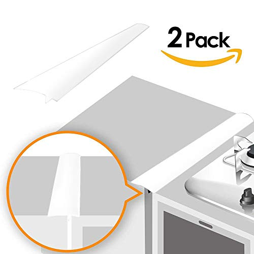 Linda's Silicone Kitchen Stove Counter Gap Cover Long & Wide Gap Filler (2 Pack) Seals Spills Between Counters, Stovetops, Washing Machines, Oven, Washer, Dryer | Heat-Resistant and Easy Clean (White)