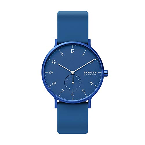 Skagen Unisex Erwachsene Analog Quarz Uhr mit Silikon Armband SKW6508