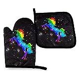 Foruidea Galaxy Rainbow Unicorn Topfhandschuhe und Topflappen-Sets Küche Hitzebeständige...