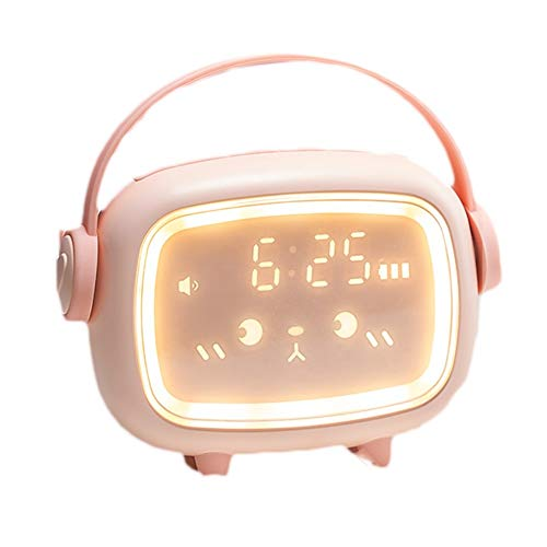 zxj Reloj Despertador para Niños Luz Nocturna Temporizada Activada por Voz Entrenador De Sueño para Niños con Pantalla De Temperatura (Color : A)