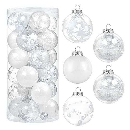 Kesote Set di 24 Palle Natalizie Palle Glitter per Albero di Natale Addobbi Decorativi di Natale, 6CM, Bianco