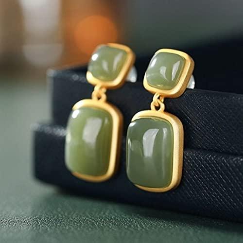 YUNHE Silver Palace Classical Gentle Natural Hotan White Jade con Incrustaciones de Pendientes de Piedra Doble Elegante joyería de Marca para Mujeres Mayores