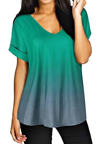 ZANZEA Maglietta Donna Manica Corta Estivo Sciolto T Shirt Taglie Forti Casual Top Scollo V Spiaggia 02-Verde L