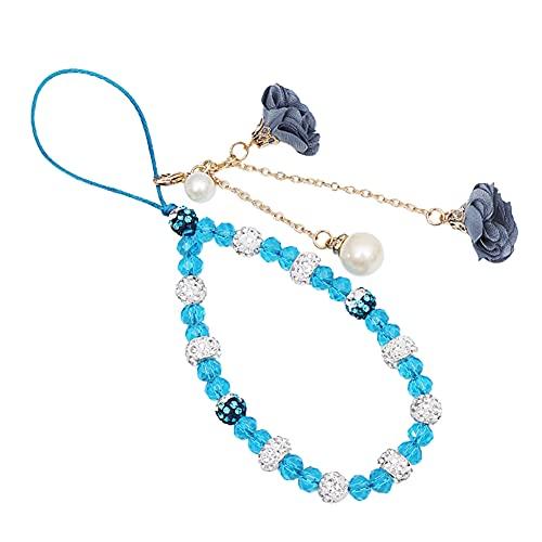 ISAKEN Cuentas de teléfono Cordón Flor de Cristal Cadena para teléfono móvil, Celular Pulsera Correa Caja del teléfono Colgante Regalo para Mujer, Azul