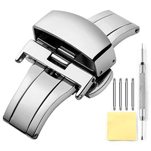 Uhr Verschluss Edelstahl Schmetterling Uhrverschluss Faltschließe mit Schnalle für Leder Uhrenarmbänder in Gold, Roségold, Silber (12mm, 14mm, 16mm, 18mm, 20mm, 22mm)