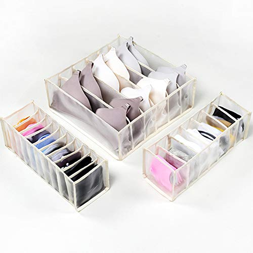 Gou - Organizador de ropa interior plegable, organizador de cajones para artículos de escritorio, sujetador, calcetines, 6 + 7 + 11 celdas, color beige