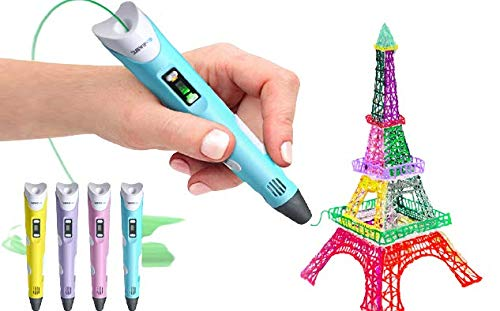 DEALBOX 3D Printing Pen Intelligent 3D Drawing Pen with 3 Colours 1.75mm PLA Refilaments Arts Crafts LCD Display Safety Design Christmas Xmas Gift Gifts Toy Toys for Kids Adults UK USB (Blue)