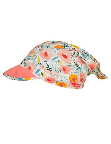 maximo Baby-Mädchen Kopftuch Mütze, Mehrfarbig (lachsrosa-gelbe Blumen 37), (Herstellergröße: 49)