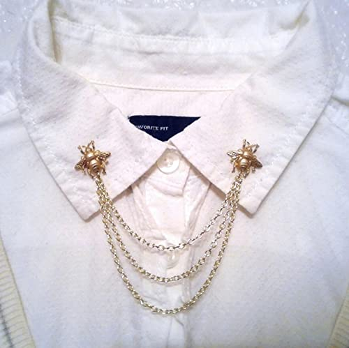 Gold Bee New product!! Collar Pins Sweater Chain Clips Popular