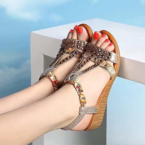 Zapatos de Verano para Mujer Sandalias de Cuña Zapatos de Gladiador Bohemio Sandalia con Detalle de Cristal Sandalias de Playa Informales con Banda Elástica