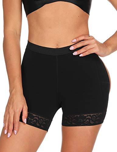 FeelinGirl Mujer Shapewear Butt Lifter Body Shaper Control de la Panza Bragas Mejora Ropa Interior Faja Botín de Encaje Shorts sin Costuras