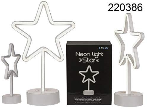 Witte kunststof neonlamp, ster op voet