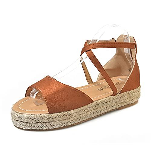 Sandalias Mujer Plataforma, Verano Casual Punta Abierta Comodos Cuñas de Verano Alpargatas Zapatos
