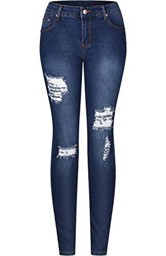 2LUV Women's Solid Stretchy 5 Pocket Distressed Skinny Jeans Denim Medium 11