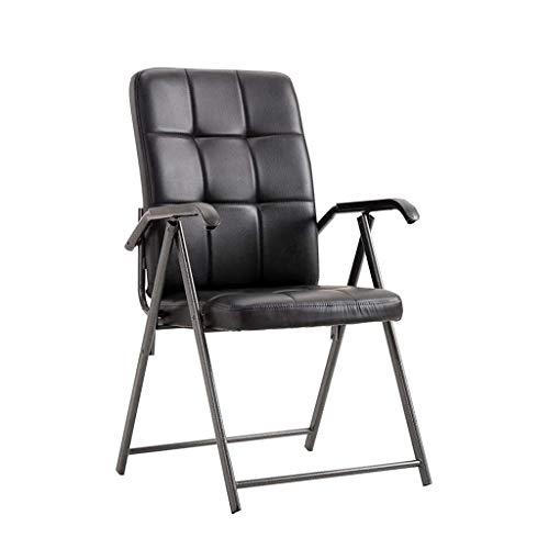 FENXIXI Oficina de Cuero clásico Escritorio Silla for Invitados con Estructura de Metal, cómodo y Transpirable, Negro