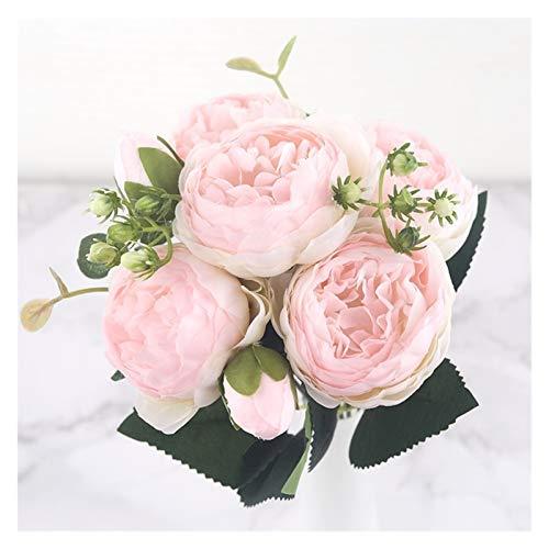 LUCHAO Künstliche Blume 30 cm rosa Seide Pfingstrose künstliche Blume Blumenstrauß Knospe billig gefälschte Blumen for Hochzeit in der Familie Dekoration Innen (Farbe : Pink Champagne)
